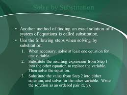 2 solve by substitution another method