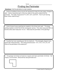 Finding the Perimeter - Perimeter Worksheet 1