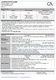 Sample Resume For Chartered Accountants Professional Resume