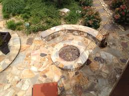 outdoor stone fire pit. Flagstone Patio W/ Fire Pit And Seating Wall Outdoor Stone