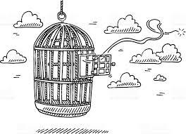 open door drawing. Bird Cage Open Door Freedom Drawing Royalty-free Stock