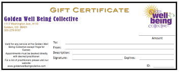 gift certificates format golden well being collective nutrition reiki aromatherapy