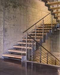 Staircase Side Railing Designs Our Side Mounted Stainless Posts And Round Bar Railing Give