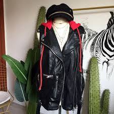 2019 european and american streetwear red hooded neckline casual leather vest front zipper design with waist sashes women vest coat from vanilla15
