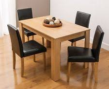 dining set oak finish dining table with 4 dark faux leather wooden chairs