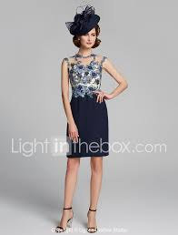 Light In The Box Mother Of The Bride Dresses Sheath Column Jewel Neck Knee Length Chiffon Lace Mother