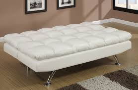 white futon sofa bed. Albert Ivory Leather Sofa Bed Futon With Chair Open White