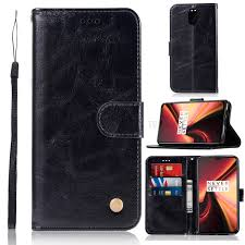 vintage premium pu leather wallet shell with stand for oneplus 7 black 1