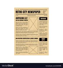 Newspaper Editorial Template Vintage Newspaper Template Sheet Old Style Design