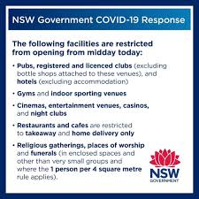 Locations of nsw covid cases revealed. Nsw Health On Twitter As Of 23 March 2020 The Following Facilities Will Be Restricted From Opening For Information And Advice On Covid 19 For Communities And Businesses In Nsw Visit Https T Co X2jtggnonz Https T Co I8bq7h1pdv