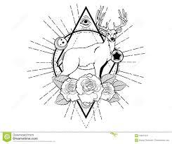 эскиз татуировки оленей с эскизом татуировки роз винтажным нео