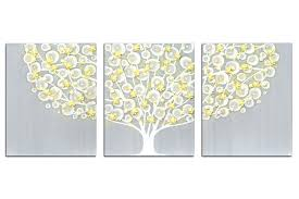 yellow and grey wall art gray and yellow wall art tree on canvas triptych large yellow