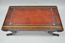 vintage weiman regency tooled leather scroll top crotch antique round leather top coffee table