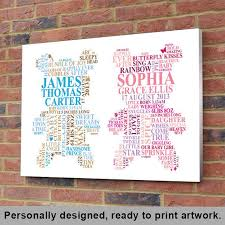 personalised twins word art new baby gift bespoke nursery wall hanging picture cute printable diy christening present unique typography on etsy 26 20