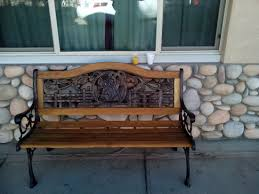 the western motel bench outside front door and loved the rock wall