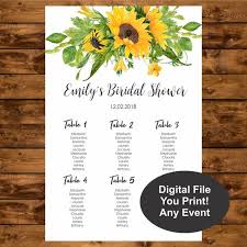 Printable Shower Chart Sunflower Seating Chart Printable Floral Table Chart Baby