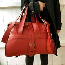 personalised handcrafted red leather overnight bag