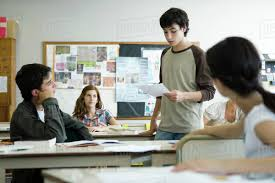 Student Presentation High School Student Giving Presentation In Class Stock Photo