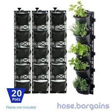 details about vertical garden kit 20 pots green wall hanging planter box diy herb succulent
