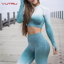 Online Shop Women Yoga <b>Set</b> Ombre <b>Seamless</b> Leggings <b>Gym</b> ...