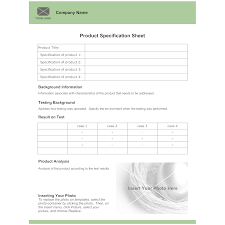 product spec sheet template product specification sheet template