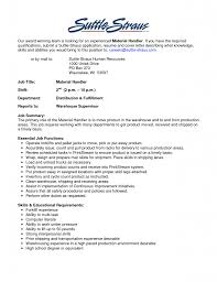 Material Handler Resume Example Examples Of Resumes
