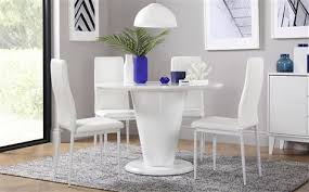 paris round white high gloss dining table with 4 leon white chairs white legs
