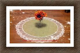 rustic charm spring wedding table centerpiece burlap overlays with white lace round table runner rustic barn wedding rustic burlap and lace