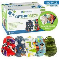 Details About Kids Adhesive Eye Patches Fun Boys Design 90 10 Bandages Reward Chart