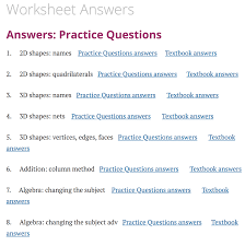 Worksheet Answers Corbettmaths