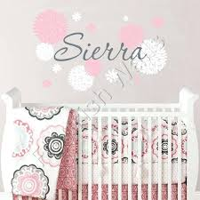 nursery name decal name wall decal dahlia flowers baby girl nursery decal bedroom wall decal baby nursery name