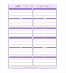 Birthday Anniversary Calendar 43 Birthday Calendar Templates Psd Pdf Excel Free Premium