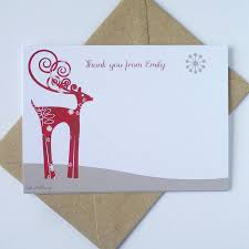 Christmas Notecard 20 Christmas Notecards With Reindeer By Ink Pudding