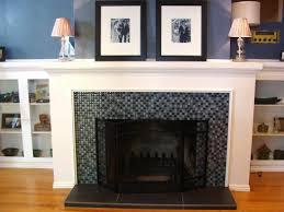 Tile Fireplace Makeover Glass Tile Fireplace Designs Diy Mantel With Glass Tile Fireplace