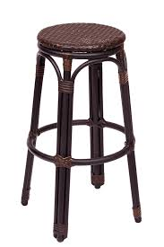 marina backless black brown synthetic wicker outdoor bar stool with black powder coated aluminum frame