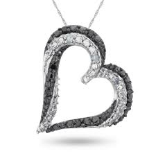 sterling silver enhanced black and white diamond heart pendant 1 10 ctw samuels jewelers