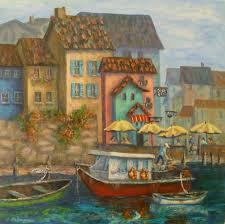 coastal italian cafe paintings