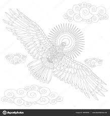 Arend Vogel Kleurplaat Boek Voor Volwassenen Vectorillustratie