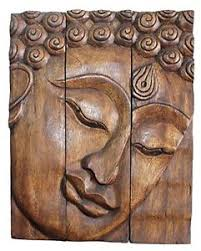 image is loading hand carved wooden thai buddha face wall art  on tiki wood wall art with hand carved wooden thai buddha face wall art plaque hanging panels