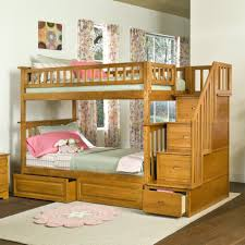 bedroom, Colorful Curtain Closed Glass Window Right For Fun Bunk Beds With  Simple Wood Stair
