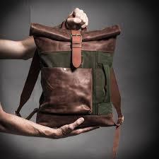 <b>Canvas</b> and leather <b>backpack</b> Roll top <b>backpack</b> by Kruk Garage ...