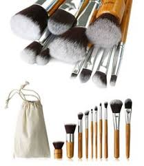 10 piece bamboo brush set with free case