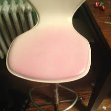 clothing dye transferred to white leather chair