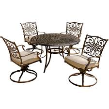 hanover traditions5pcsw traditions series 5 piece patio dining set 4 swivel chairs a 48 round dining table alumnicast frames center hole for umbrella
