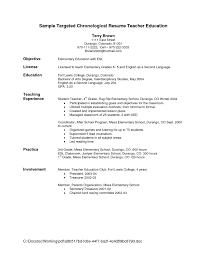 Resume Template. Resume Objective Sentences: Great Resume ... ... Sample Chronological Resume Teacher Education For Objective With License And Involvement Or Experience ...