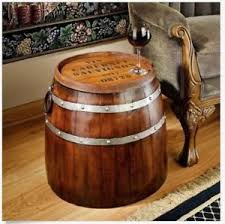 wood barrel furniture. Wood End Table Rustic Side Stand Vintage Bar Man Cave Wine Barrel Den NEW Furniture