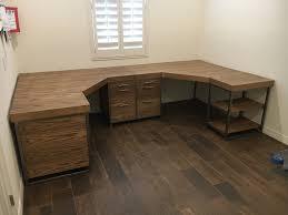 Custom double corner desk oak wood with metal frame.