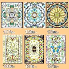 custom stained glass adhesive windows decorative window stickers wardrobe for front doors ocean blue static stained cling see thru window glass