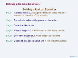 7 solving a radical equation step