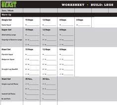 workout sheets body beast bulk legs workout sheet girl stuff fitness health